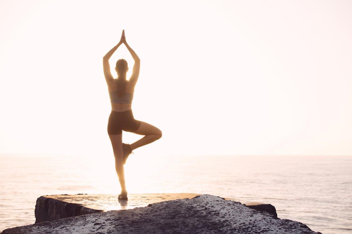 Morning Yoga Outside in front of ocean